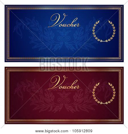 Gift certificate, Voucher, Coupon, Reward, Ticket template with flowers (floral), scroll (pattern)