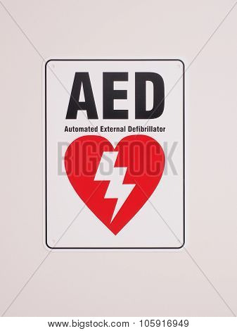 Automatic Electronic Defibrillator location sign in an industrial environment, Melbourne 2015 poster