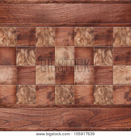 Wooden Background, Squares In A Checkerboard Pattern