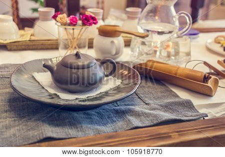 South korean tea ceremony table vintage toning poster