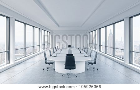 A Bright Modern Panoramic Meeting Room In A Modern Office With New York City View. The Concept Of Th