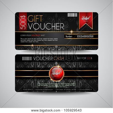 Voucher Gift Card layout template for your promotional design. Space and fields for text, front and back provided.