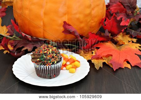 One Chocolate Cupcake Decorated For Fall With An Autumn Background.