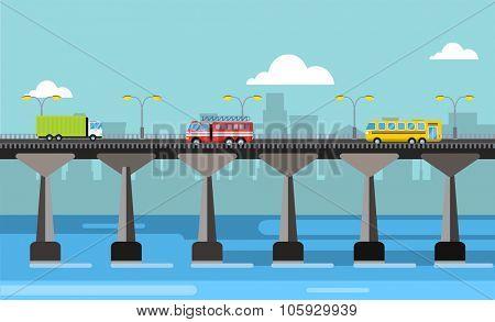 Modern bridge vector illustration. Vector bridge silhouette down town city view. Outdoor travel background. Travel bridge vector construction. Bridge construction, fast river, travel, transportation