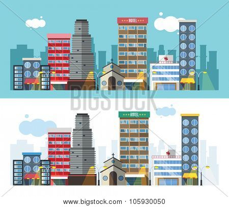 Buildings and city transport flat style illustration. Flat design city downtown background. Roads and city buildings, sky and mountains. City town market, hospital, church, shop, down town