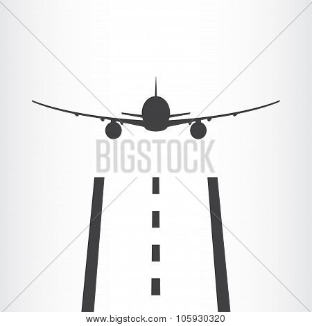 Airplane takes off from a runway icon isolated on white background. Plane is landing away from airport. Vector illustration. poster