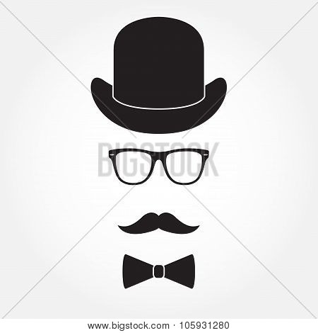 Old fashioned gentleman accessories icons set: hat, glasses, mustache and bowtie. Retro hipster styl