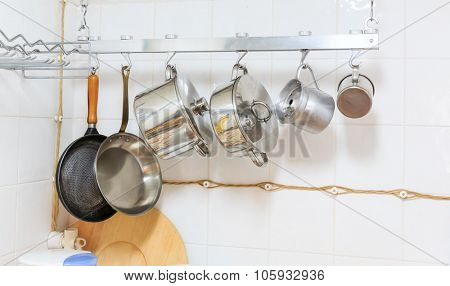 Pans and pots hanging in the kitchen