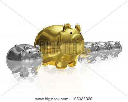 One Gold Piggy Bank In Row Of Silver Piggy Banks