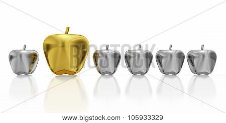 One Golden Apple In Row Of Silver Apples
