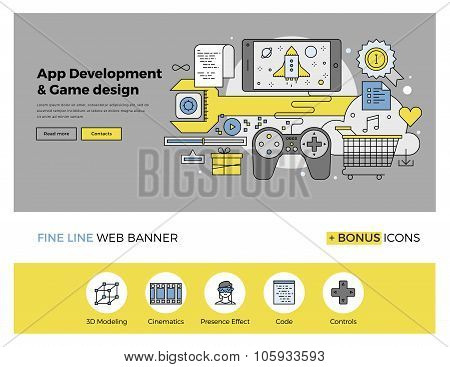 App And Game Develop Flat Line Banner