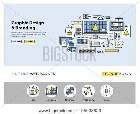 Graphic Design Flat Line Banner