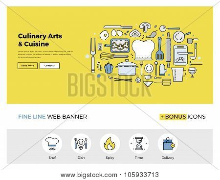 Culinary Arts Flat Line Banner