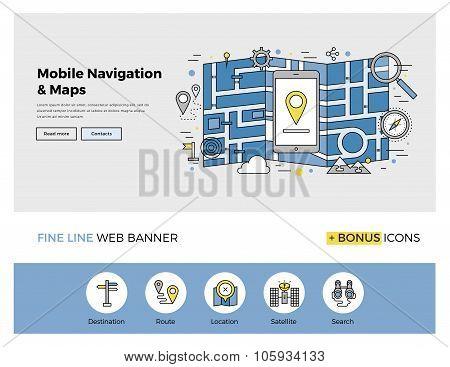 Mobile Navigation Flat Line Banner
