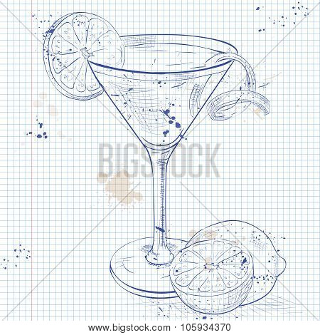 Cosmopolitan on a notebook page