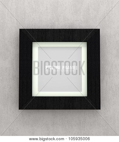 Square black wooden picture frame