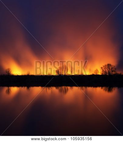 Burning A Field Near The Dnieper River