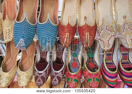Arabian Slippers - Intricate Beadwork Adorn These Arabian Slippers Seen At A Market In Dubai.