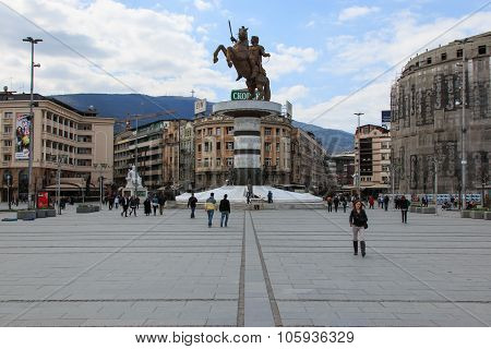 Skopje, Macedonia - April 3 2014: Square Makedonia the capital's main square with people passing by