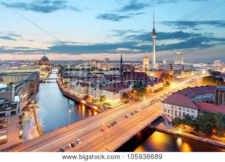 Berlin. Aerial View Of Berlin During Beautiful Sunset.
