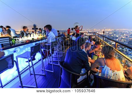 Bangkok, Thailand - April 15,2015: Bangkok By Night Viewed From A Roof Top Bar