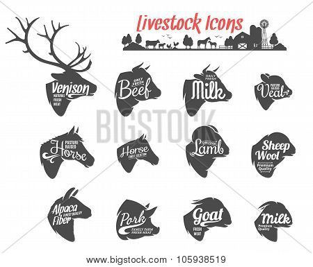 Livestock Icons Collection. Livestock Labels Templates