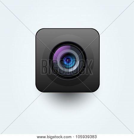 Vector photo camera lens black illustration