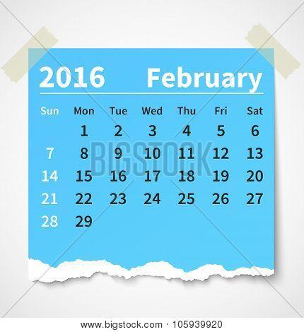 Calendar february 2016 colorful torn paper