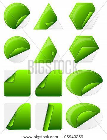 Green sticker label