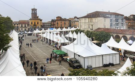 Moncalvo, Italy - October 18,2015: Vendors At The Truffle Fair In The Main Square Of Moncalvo, A Med