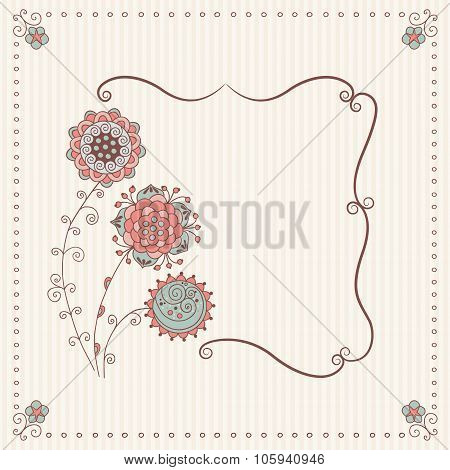 Stock Vector Handmade Frame In A Classic Style With Abstract Flowers And Vignette