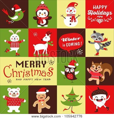 Vector set of funny cartoon Christmas character, symbols, greeting card, banner and poster.