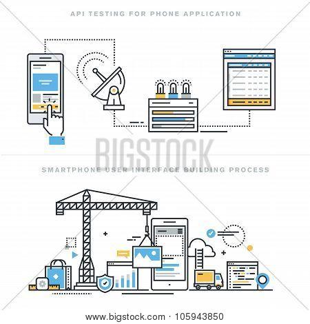 Flat line design vector illustration concepts for mobile app development and API testing