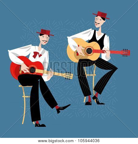 Two Men Playing A Guitar. Spanish Flamenco Guitarists.