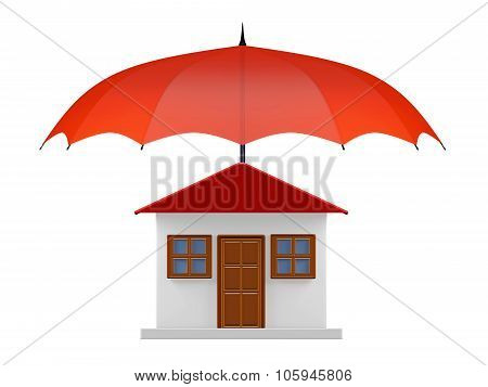 Protected House Under Red Umbrella