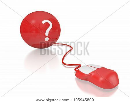 Question Mark On Ball And Computer Mouse