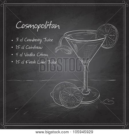 Cosmopolitan on black board