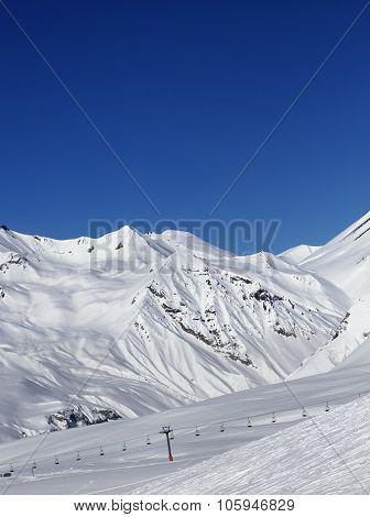 Ski Slope And Ropeway At Nice Sun Day