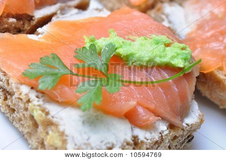 Sandwich With Smoked Salmon Isolated
