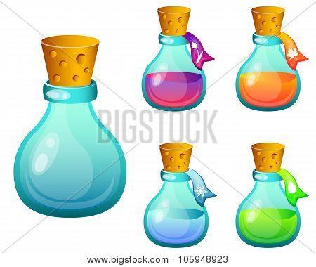 Set bottles with magic spells. Game Design. Vector illustration