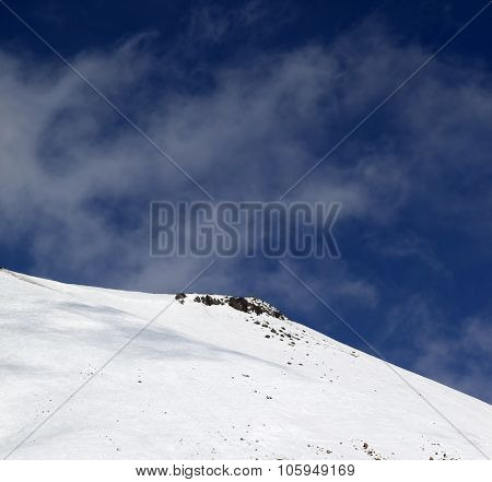 Off-piste Slope With Stones At Windy Day