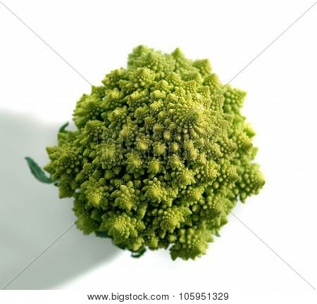 Decorate Broccoflower Top View - Brocolli Isolated On White Background