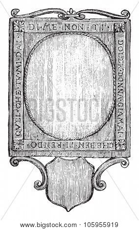 Pocket mirror supposed to have belonged to Leonardo da Vinci, vintage engraved illustration. Magasin Pittoresque 1877.