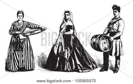 Genovese costumes, merchant farinata, sponge cake with the Mazzero, wine carrier, vintage engraved illustration. Magasin Pittoresque 1877.