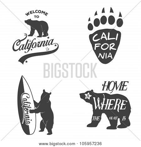 Set of vintage monochrome california emblems and design elements.
