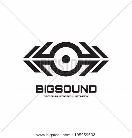 Big sound - vector logo sign concept illustration for dj, dance party, musical performance etc.