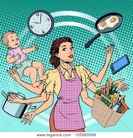 Housewife work time family success woman