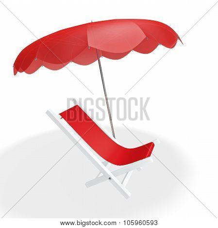 Red Beach Chair Under Parasol