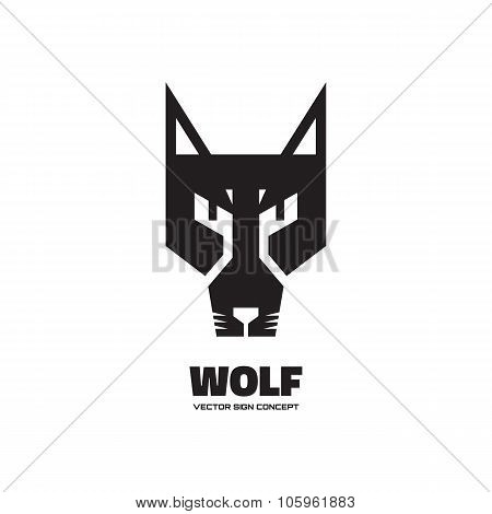 Wolf head - vector logo concept illustration. Dog logo illustration. Wolf graphic sign.