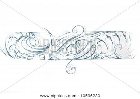Tattoo art sketch of a machine bracelet poster